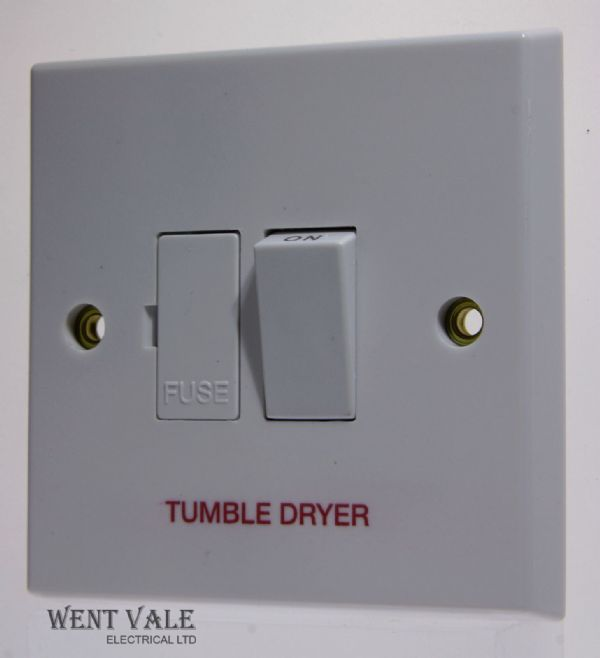 "Volex - VX1080TD - 13a White Moulded Switched Fused Spur Marked ""Tumble Dryer"""